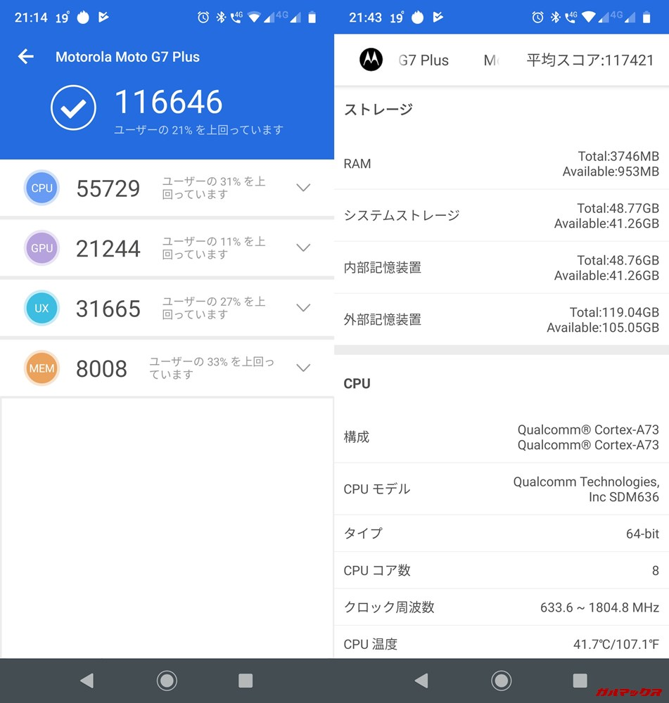 moto g7 PLUS(Android 9)実機AnTuTuベンチマークスコアは総合が116646点、3D性能が21244点。