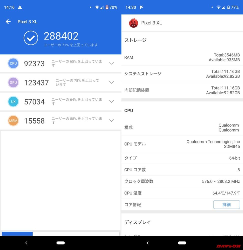 Pixel 3 XL(Android 9)実機AnTuTuベンチマークスコアは総合が288402点、3D性能が123437点。