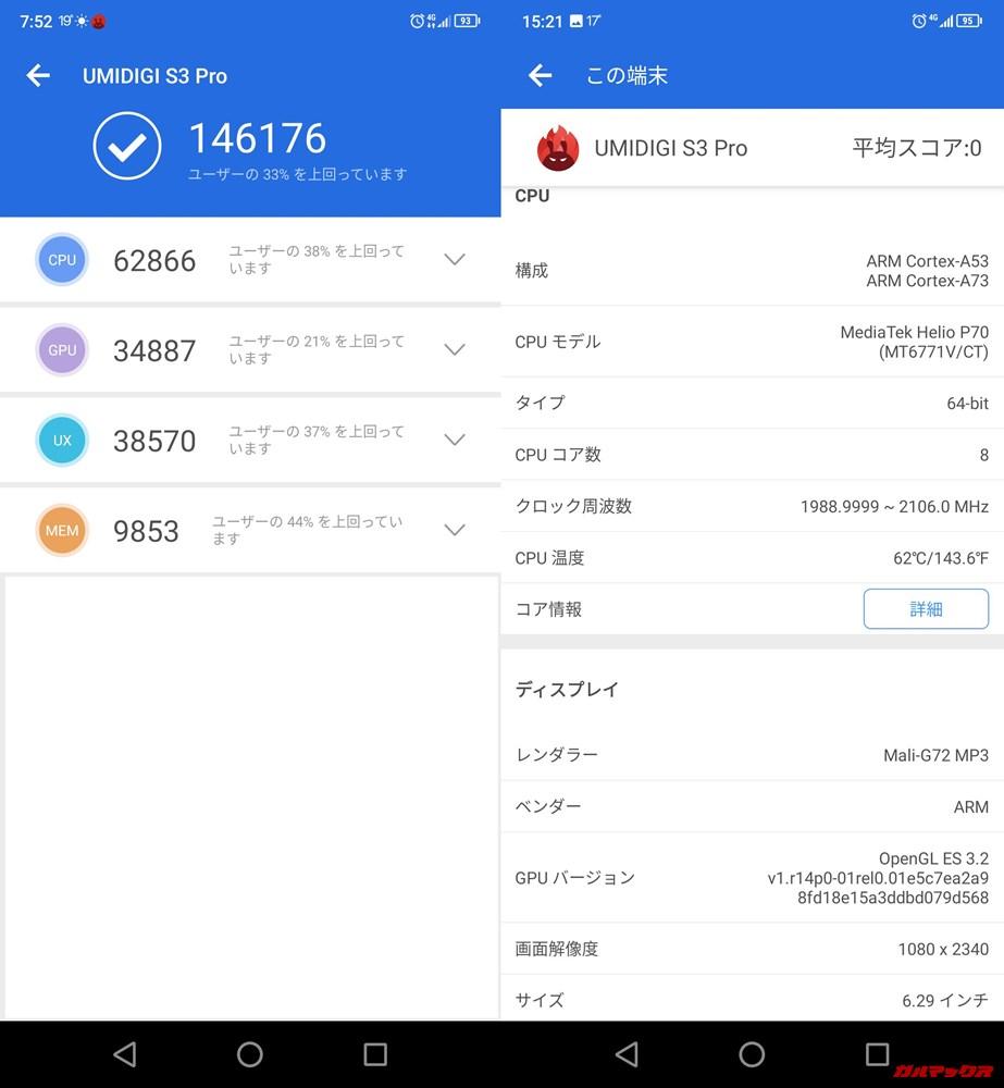 UMIDIGI S3 Pro(Android 9.0)実機AnTuTuベンチマークスコアは総合が146176点、3D性能が34887点。