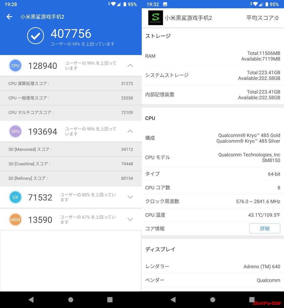 Xiaomi Black Shark 2/メモリ12GB版(Android 9)実機AnTuTuベンチマークスコアは総合が407756点、3D性能が193694点。