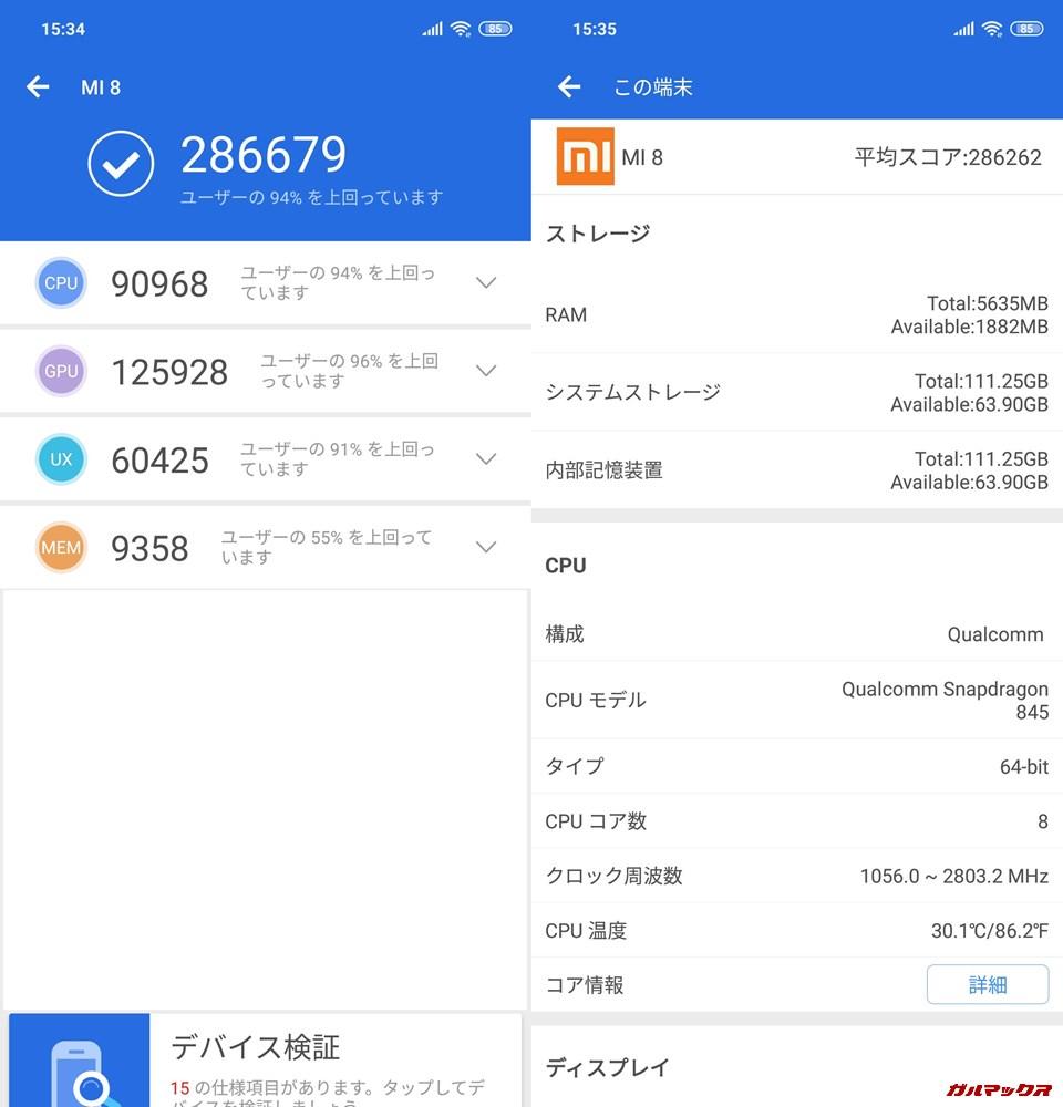 Xiaomi Mi 8/RAM6GB実機AnTuTuベンチマークスコアは総合が286679点、3D性能が125928点。