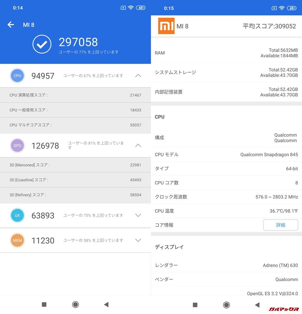 Xiaomi Mi 8/RAM6GB実機AnTuTuベンチマークスコアは総合が297058点、3D性能が126978点。