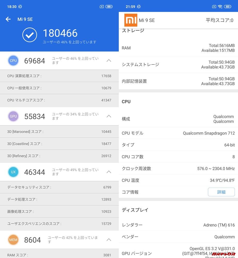 Xiaomi Mi 9 SE(Android 9)実機AnTuTuベンチマークスコアは総合が180466点、3D性能が55834点。