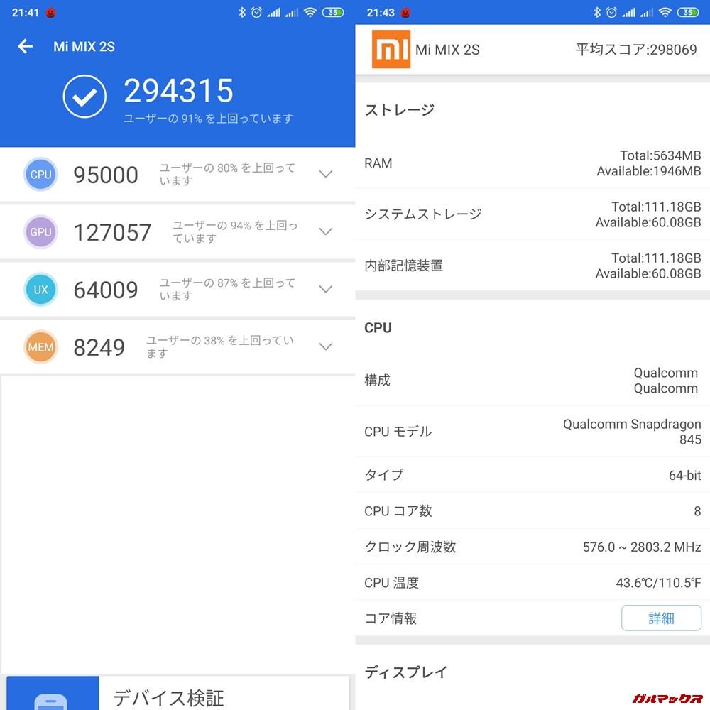 Xiaomi Mi MIX 2S実機AnTuTuベンチマークスコアは総合が294315点、3D性能が127057点。