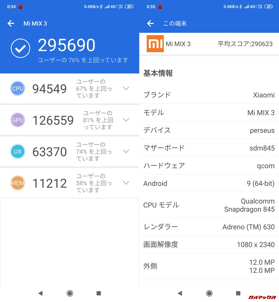 Xiaomi Mi MIX 3実機AnTuTuベンチマークスコアは総合が295690点、3D性能が126559点。