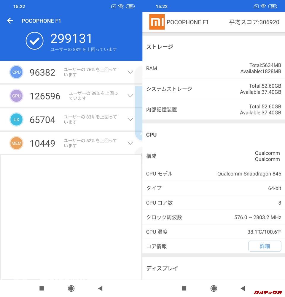 Xiaomi Poco F1/RAM6GB実機AnTuTuベンチマークスコアは総合が299131点、3D性能が126596点。