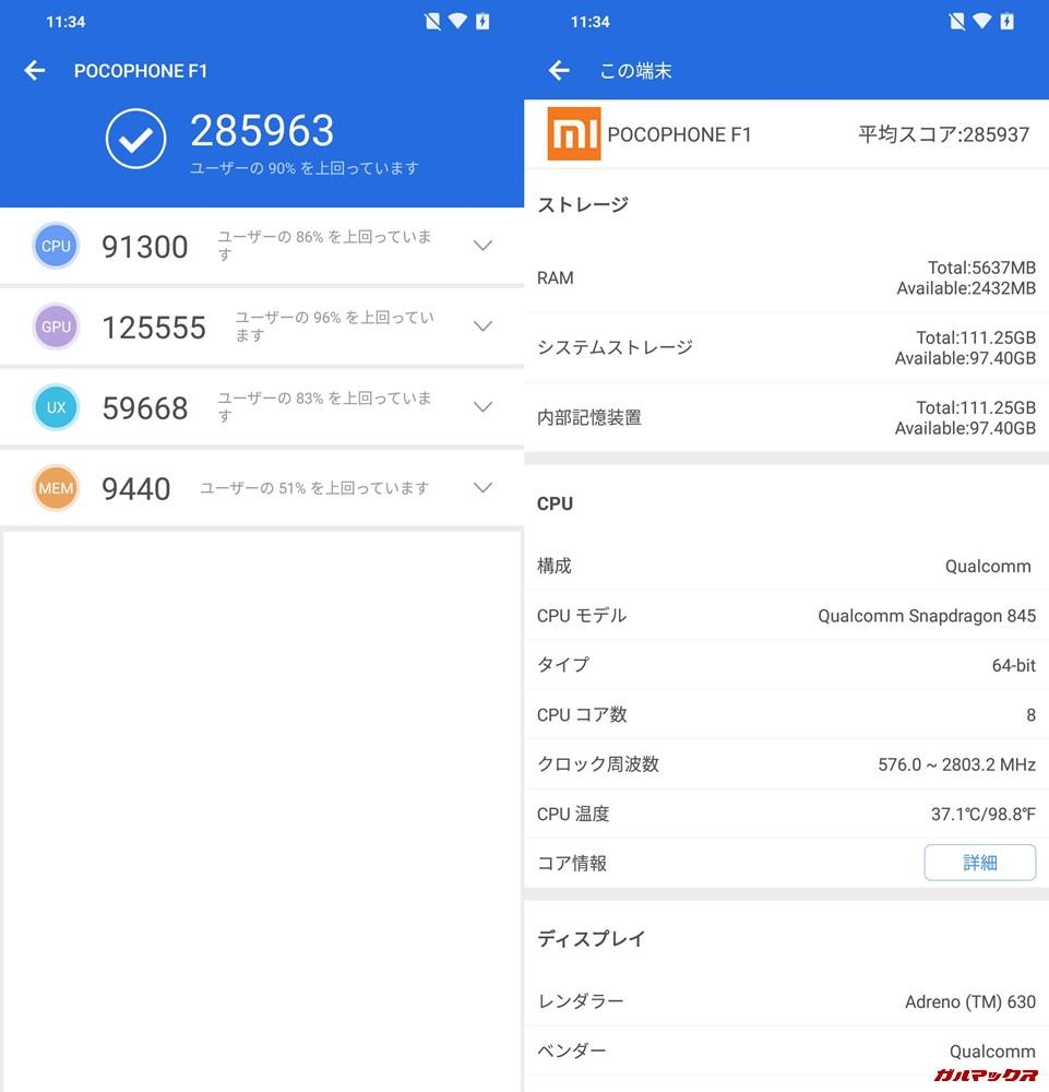Xiaomi Poco F1/RAM6GB実機AnTuTuベンチマークスコアは総合が285963点、3D性能が125555点。