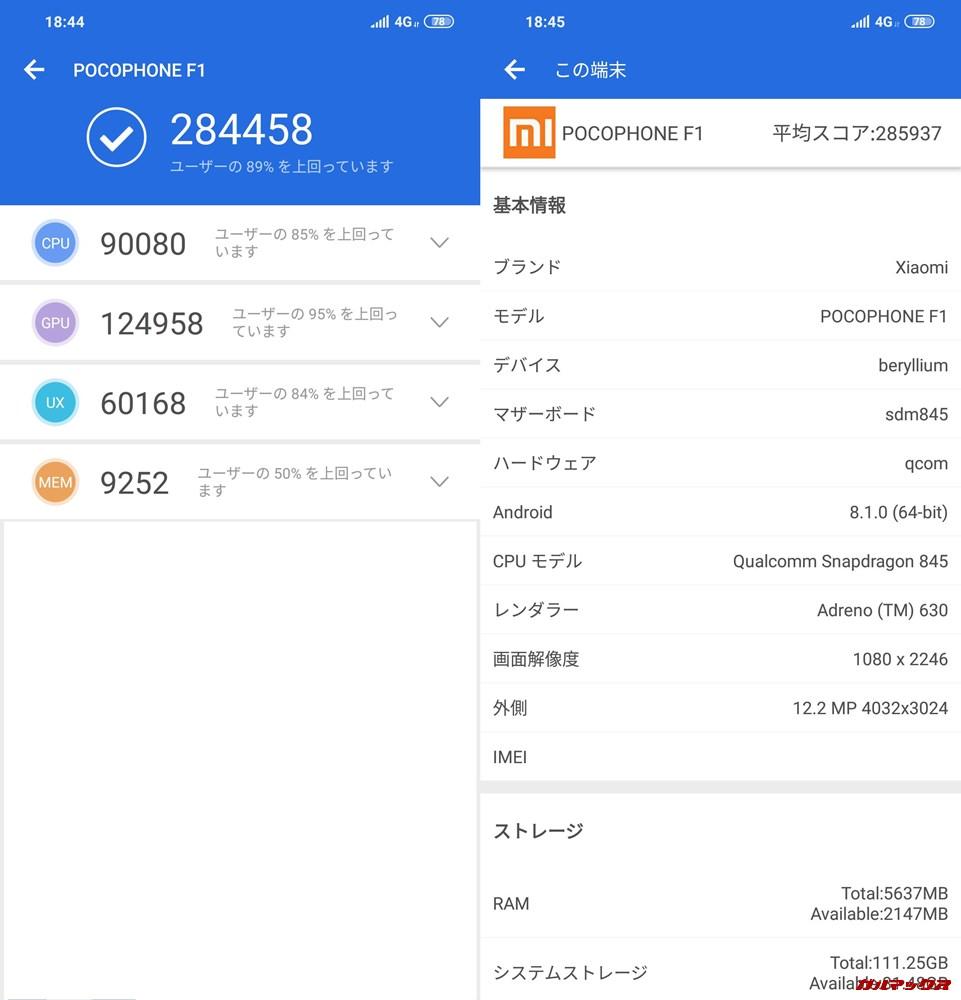 Xiaomi Poco F1/RAM6GB実機AnTuTuベンチマークスコアは総合が284458点、3D性能が124958点。