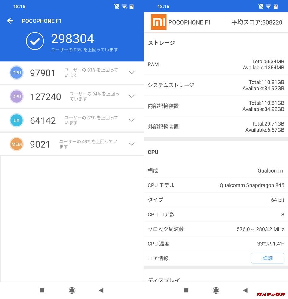 Xiaomi Poco F1/RAM6GB実機AnTuTuベンチマークスコアは総合が298304点、3D性能が127240点。