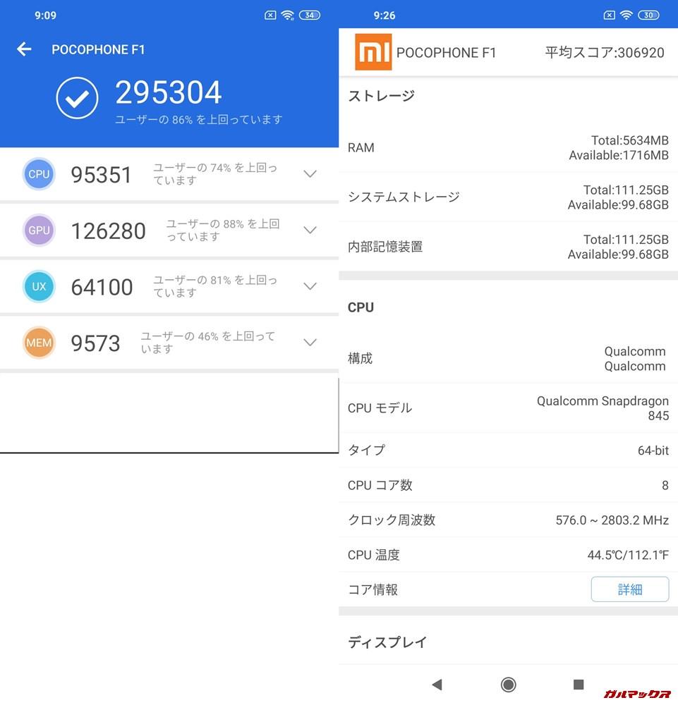 Xiaomi Poco F1/RAM6GB実機AnTuTuベンチマークスコアは総合が295304点、3D性能が126280点。