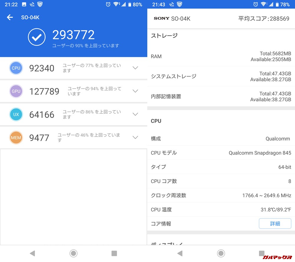 Xperia XZ2 Premium(Android 9)実機AnTuTuベンチマークスコアは総合が293772点、3D性能が127789点。