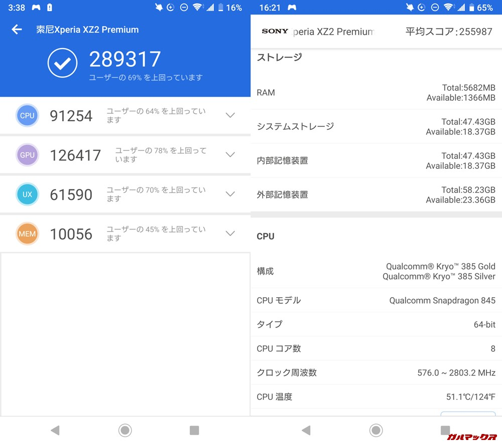 Xperia XZ2 Premium(Android 9)実機AnTuTuベンチマークスコアは総合が289317点、3D性能が126417点。