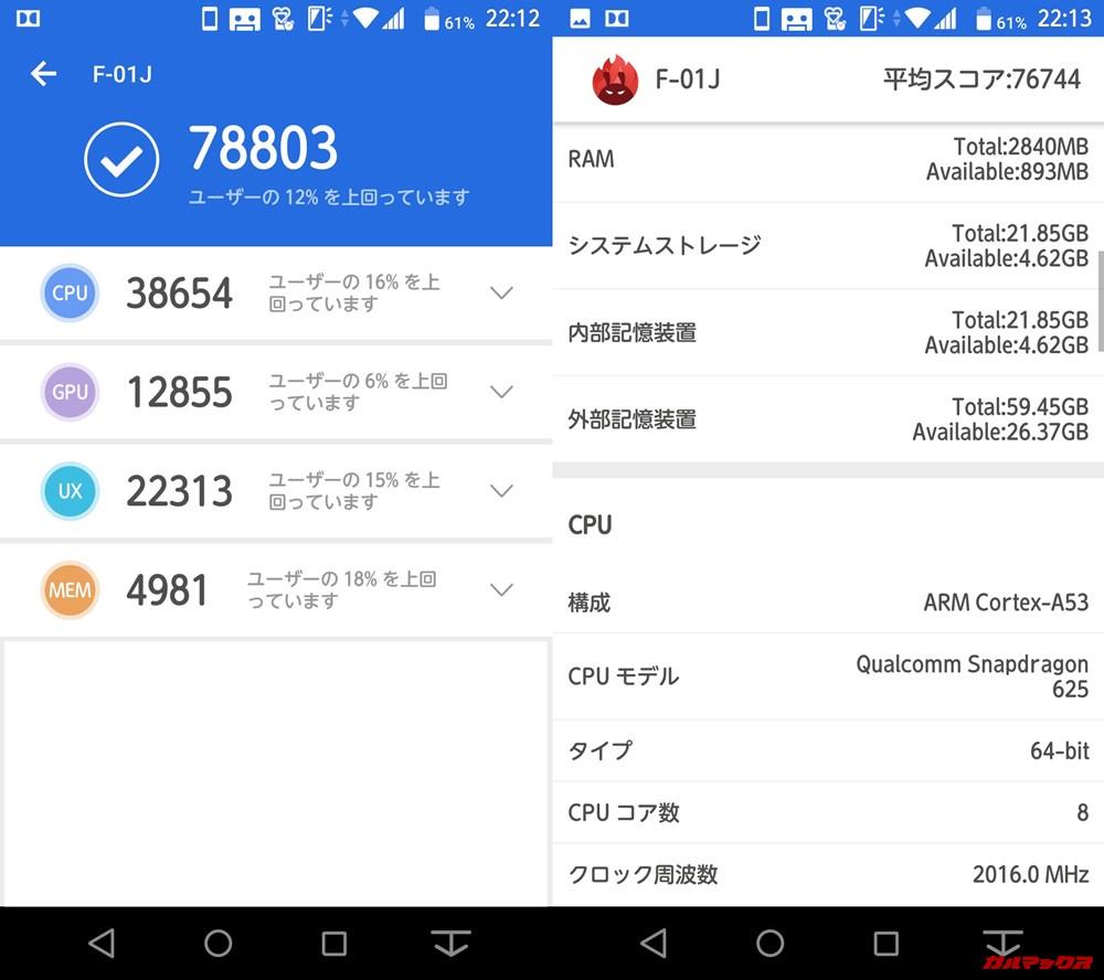 arrows NX F-01J(Android 8.1)実機AnTuTuベンチマークスコアは総合が78803点、3D性能が12855点。