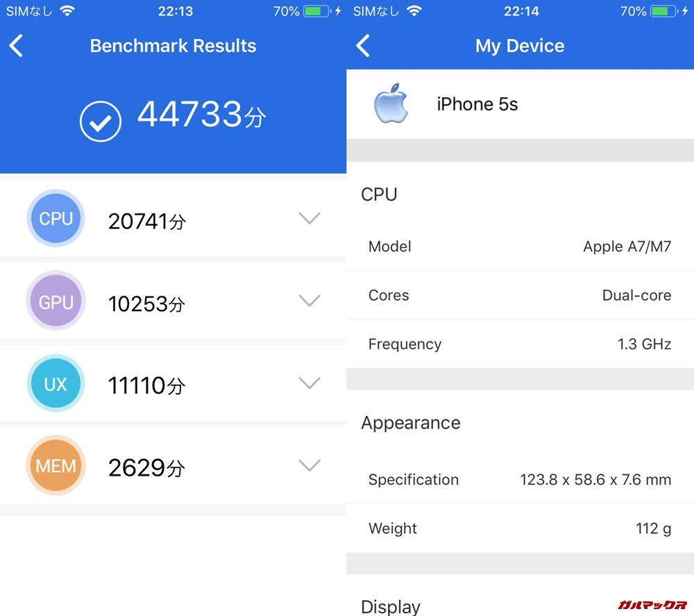 iPhone 5s(iOS12.3)実機AnTuTuベンチマークスコアは総合が44733点、3D性能が10253点。