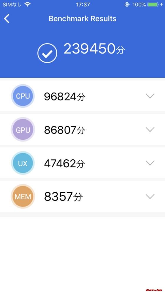 iPhone 8実機AnTuTuベンチマークスコアは総合が239450点、3D性能が86807点。