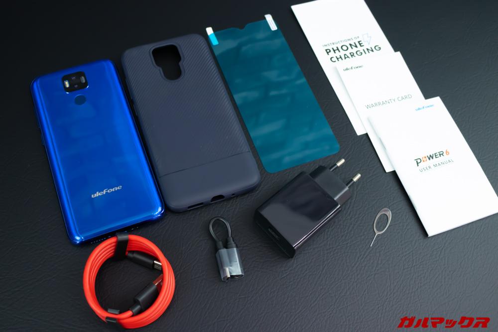 UleFone Power 6の付属品は1.5万円強の価格なら非常に充実した内容です。