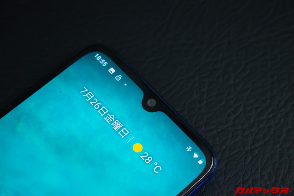 Xiaomi Mi A3はノッチ付きディスプレイとなり画面占有率が高くなりました。