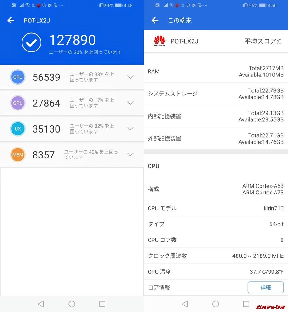 HUAWEI nova lite 3(Android 9 Pie)実機AnTuTuベンチマークスコアは総合が127890点、3D性能が27864点。