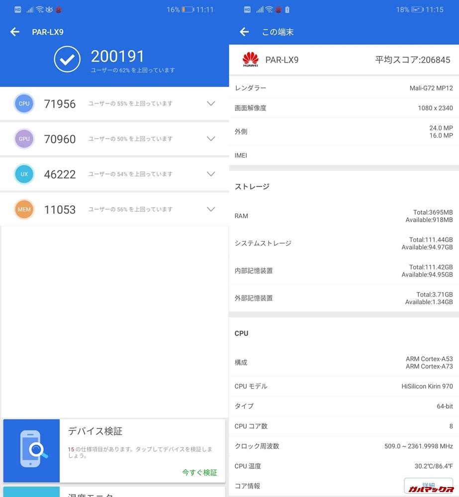 Huawei nova 3(Android 9)実機AnTuTuベンチマークスコアは総合が200191点、3D性能が70960点。