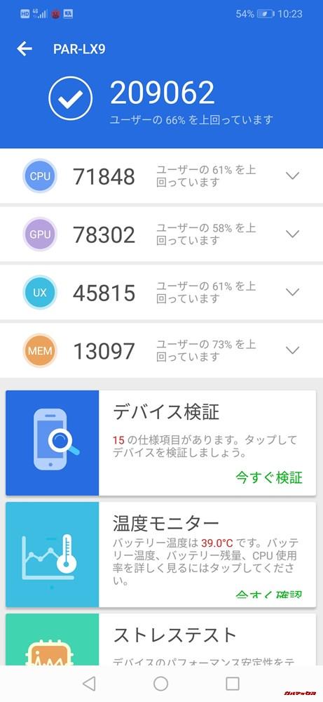 Huawei nova 3(Android 8.1)実機AnTuTuベンチマークスコアは総合が209062点、3D性能が78302点。