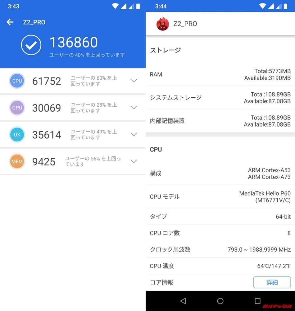 UMIDIGI Z2 Pro(Android 8.1)実機AnTuTuベンチマークスコアは総合が136860点、3D性能が30069点。