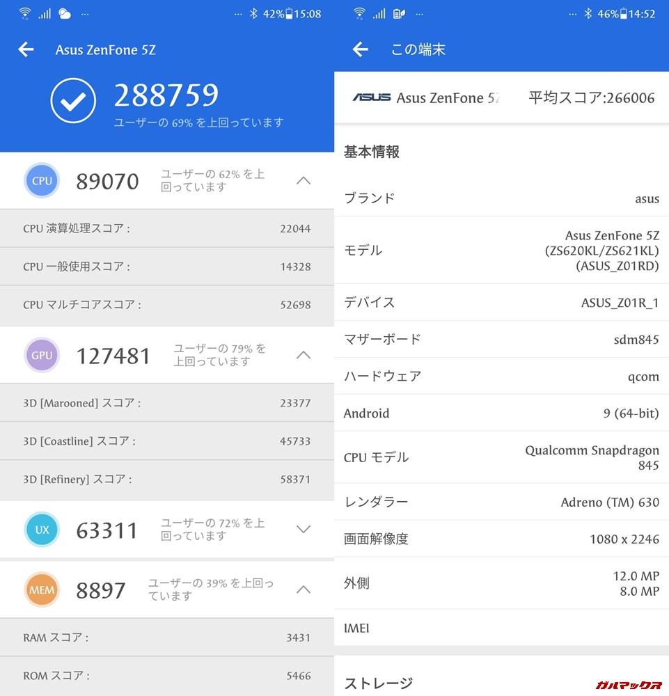 Zenfone 5Z(Android 9)実機AnTuTuベンチマークスコアは総合が288759点、3D性能が127481点。