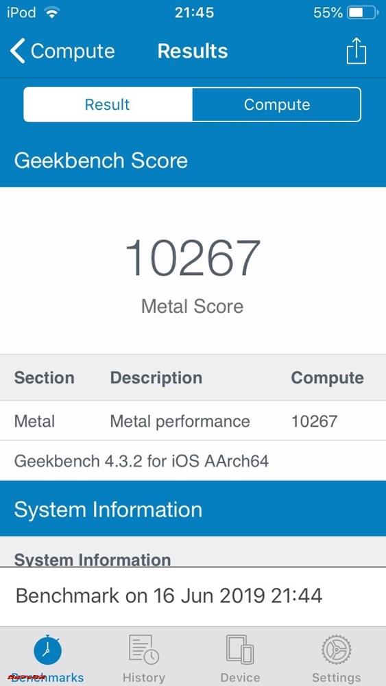 iPod touch(第7世代)の実機Geekbench 4スコアはMetalスコアが10267点