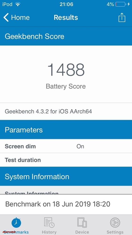 Geekbench 4のバッテリーベンチマークスコアは1488点