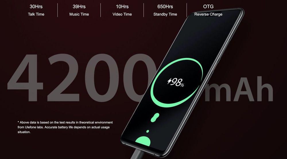 Ulefone T2は4200mAhのバッテリーを搭載!ワイヤレス充電にも対応している!