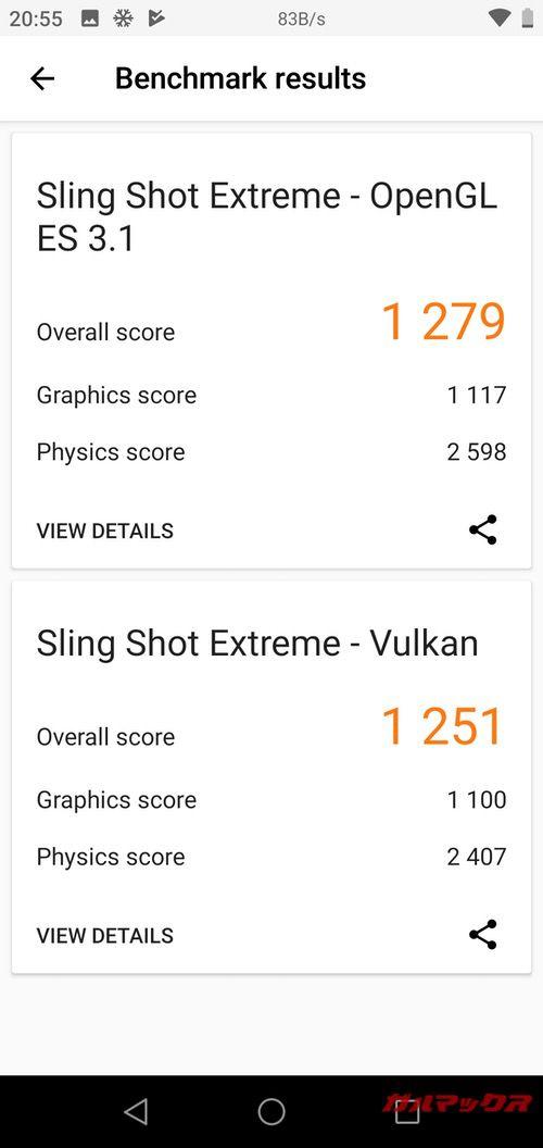 3DMarkはOpen GL ES 3.1が1279点、Vulkanが1251点