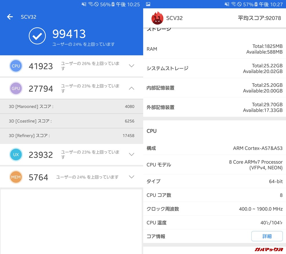 Galaxy A8(Android 7)実機AnTuTuベンチマークスコアは総合が99413点、3D性能が27794点。
