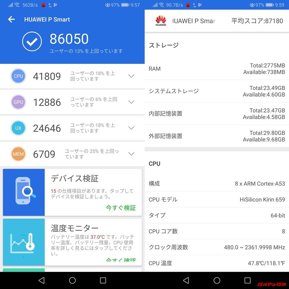 HUAWEI nova lite 2(Android 9)実機AnTuTuベンチマークスコアは総合が86050点、3D性能が12886点。