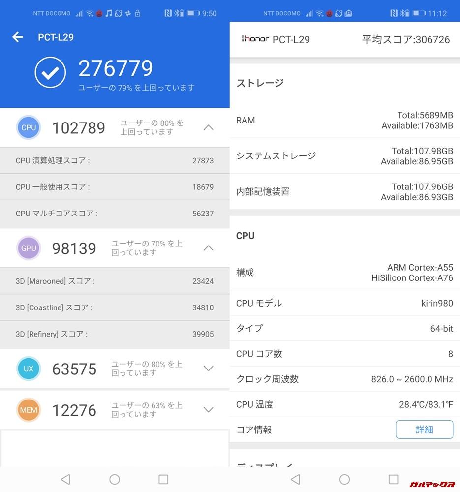 Huawei view 20(Android 9)実機AnTuTuベンチマークスコアは総合が276779点、3D性能が98139点。