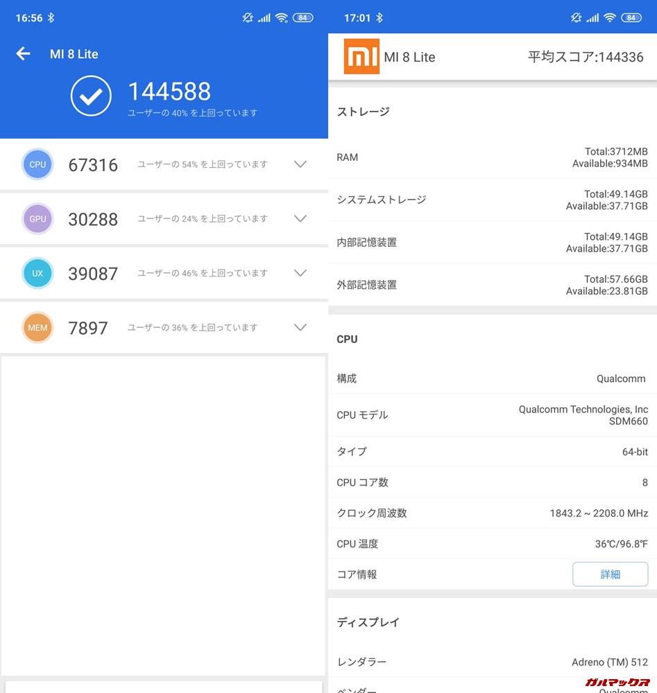 Xiaomi mi 8 Lite(Android 8.1)実機AnTuTuベンチマークスコアは総合が144588点、3D性能が30288点。
