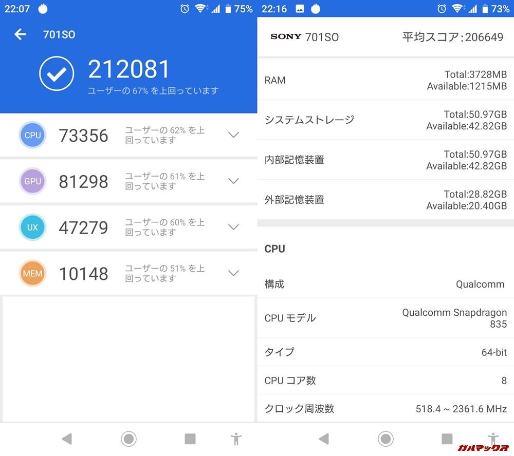 Xperia XZ1(Android 9)実機AnTuTuベンチマークスコアは総合が212081点、3D性能が81298点。