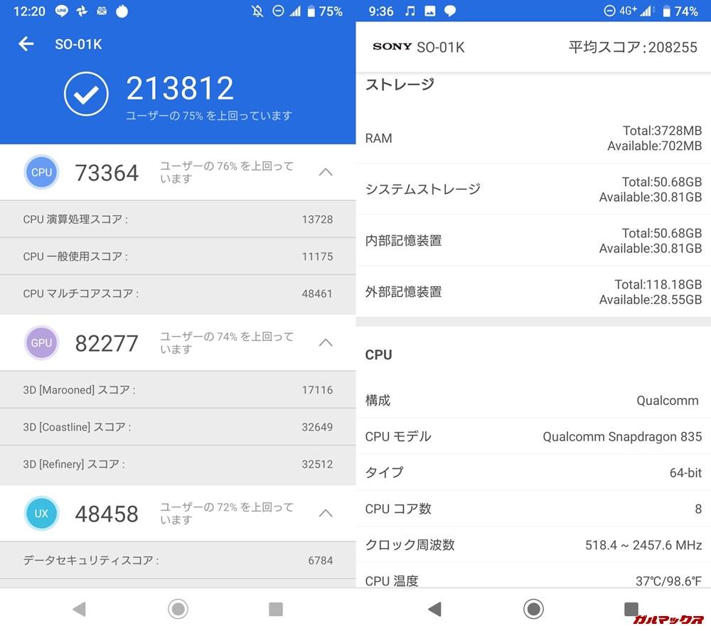 Xperia XZ1(Android 9)実機AnTuTuベンチマークスコアは総合が213812点、3D性能が82277点。