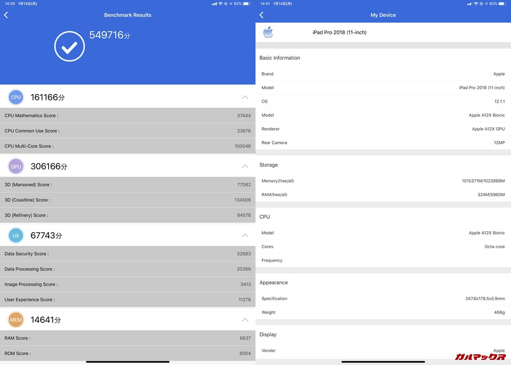 iPad Pro 11(iOS 12.1.1)実機AnTuTuベンチマークスコアは総合が549716点、3D性能が306166点。