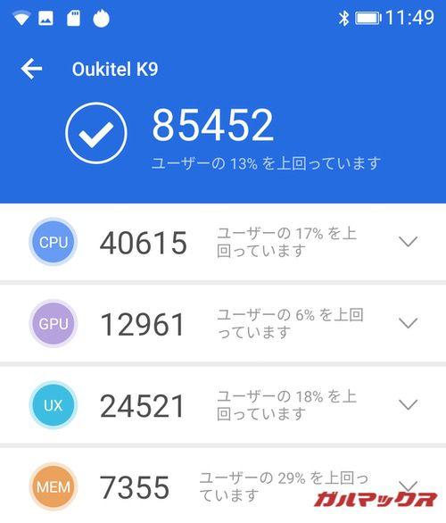 OUKITEL K9(Android 9)実機AnTuTuベンチマークスコアは総合が85452点、3D性能が12961点。