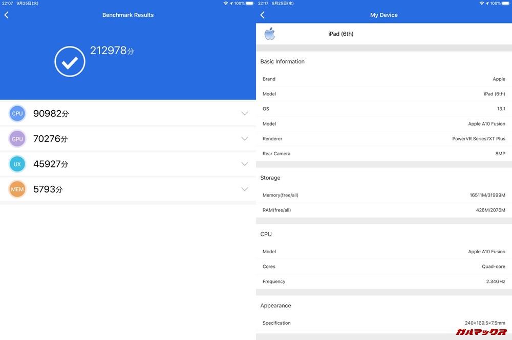 iPad 2018(iOS13.1)実機AnTuTuベンチマークスコアは総合が212978点、3D性能が70276点。