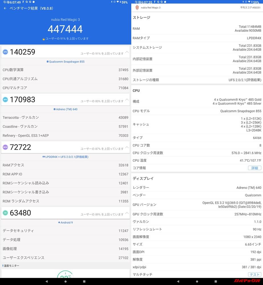 nubia Red Magic 3(Android 9)実機AnTuTuベンチマークスコアは総合が447444点、3D性能が170983点。