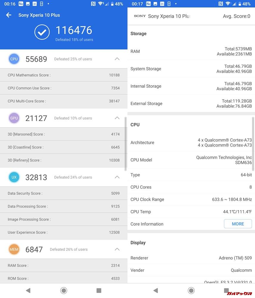 Xperia 10 plus(Android 9)実機AnTuTuベンチマークスコアは総合が116476点、3D性能が21127点。