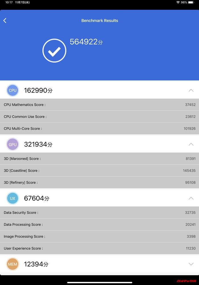 iPad Pro 11(iOS12.1)実機AnTuTuベンチマークスコアは総合が564922点、3D性能が321934点。