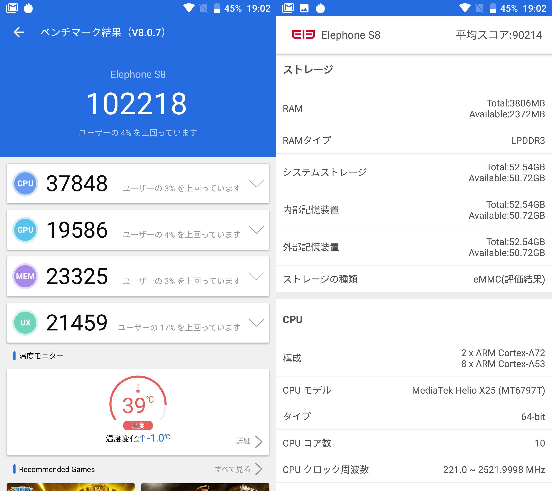 Elephone S8(Android 7)実機AnTuTuベンチマークスコアは総合が102218点、3D性能が19586点。