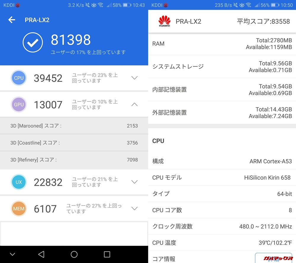 HUAWEI nova lite/メモリ3GB(Android 8)実機AnTuTuベンチマークスコアは総合が81398点、3D性能が13007点。