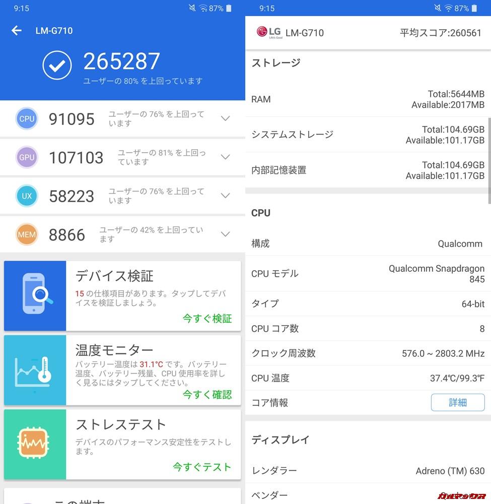 LG G7+ ThinQ/メモリ6GB(Android 8)実機AnTuTuベンチマークスコアは総合が265287点、3D性能が107103点。