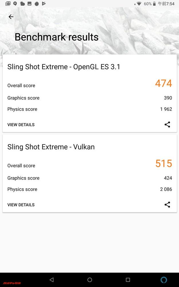 3DMarkスコアはOpenGL ES 3.1が474点、Vulkanが515点