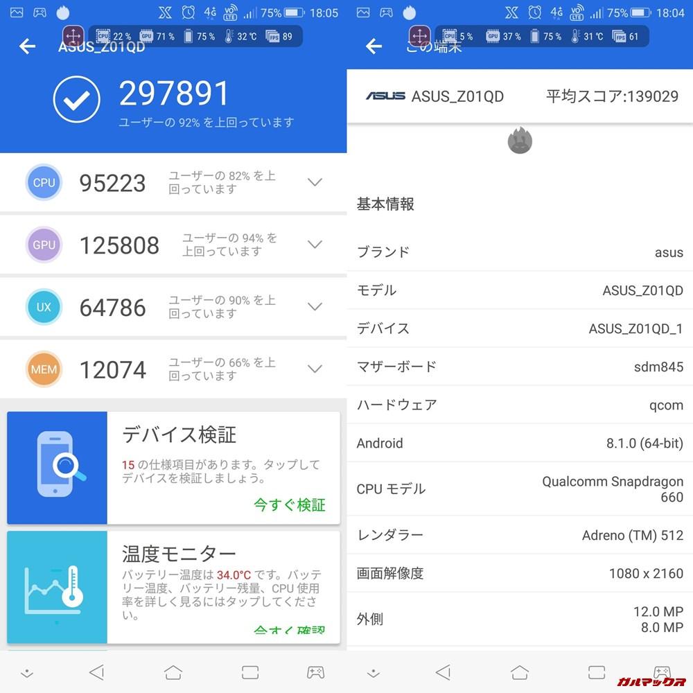 ROGphone/メモリ8GB(Android 8.0.1)実機AnTuTuベンチマークスコアは総合が297891点、3D性能が125808点。
