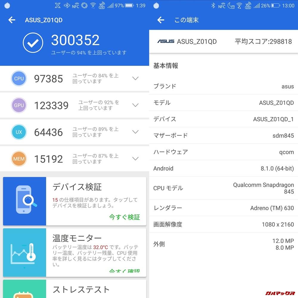 ROGphone/メモリ8GB(Android 8.1)実機AnTuTuベンチマークスコアは総合が300352点、3D性能が123339点。