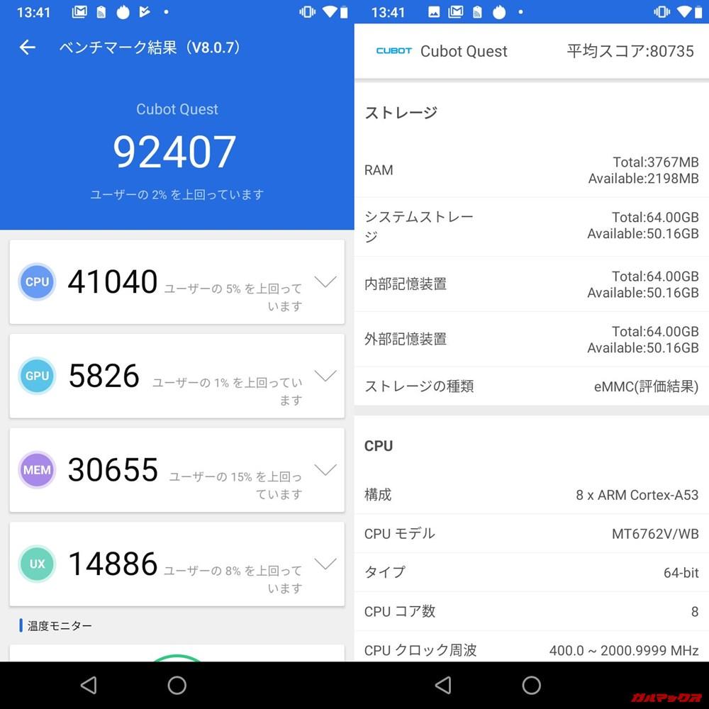 QUBOT QUEST(Android 9)実機AnTuTuベンチマークスコアは総合が92407点、3D性能が5826点。