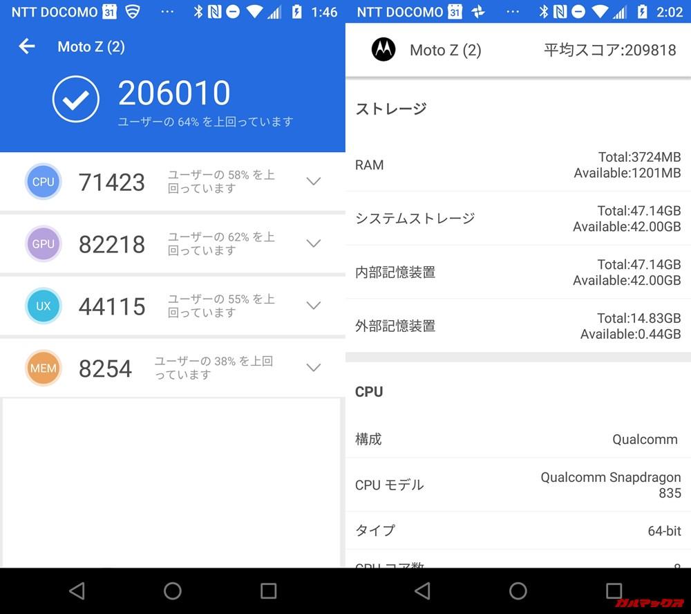 moto z2 force/メモリ4GB(Android 8)実機AnTuTuベンチマークスコアは総合が206010点、3D性能が82218点。